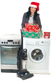 圣诞节家庭做促销给妇女 免版税图库摄影