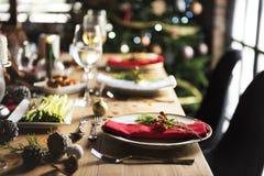 圣诞节家庭饭桌概念 库存照片