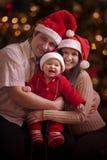 圣诞节家庭画象 图库摄影