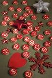 圣诞节宾果游戏数字和装饰 库存照片