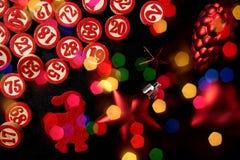 圣诞节宾果游戏编号平的样式 免版税库存照片