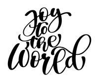 圣诞节对世界手基督徒书面书法字法的文本喜悦 手工制造传染媒介例证 乐趣刷子 皇族释放例证