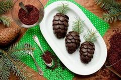 圣诞节对待巧克力蛋糕被塑造的pinecone 免版税库存图片