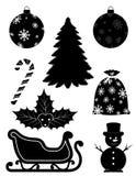 圣诞节对象设置了象黑概述剪影股票vecto 皇族释放例证