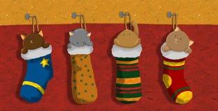 圣诞节小猫袜子 库存图片
