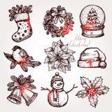 圣诞节属性和标志的剪影汇集 免版税图库摄影
