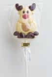 圣诞节巧克力棒棒糖 免版税图库摄影