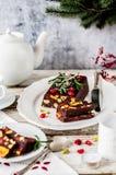 圣诞节巧克力马赛克蛋糕 库存照片