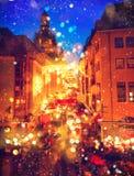 圣诞节市场在一个老欧洲镇 免版税库存照片