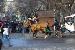 圣诞节市场在一天 库存图片