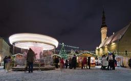 圣诞节市场在塔林 免版税图库摄影