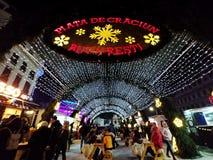 圣诞节市场在布加勒斯特中部在晚上 免版税库存图片