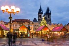 圣诞节市场在布拉格(联合国科教文组织),捷克共和国 图库摄影