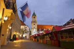 圣诞节市场在布拉索夫 库存照片