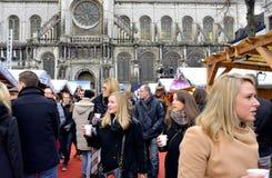 圣诞节市场在布鲁塞尔 库存图片