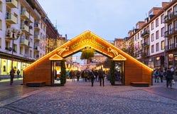 圣诞节市场在弗罗茨瓦夫,波兰 库存图片