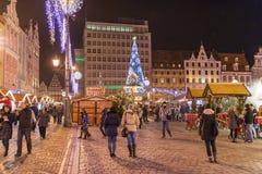 圣诞节市场在弗罗茨瓦夫,波兰 免版税图库摄影