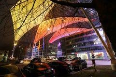 圣诞节市场在慕尼黑国际机场,MUC,从上面看法,德国 免版税图库摄影