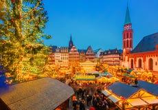 圣诞节市场在法兰克福 免版税库存照片