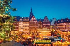 圣诞节市场在法兰克福 免版税图库摄影