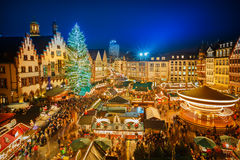 圣诞节市场在法兰克福 免版税库存图片