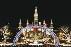 圣诞节市场在维也纳奥地利 免版税库存图片