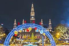 圣诞节市场在维也纳,奥地利,在附近的欧洲 库存照片