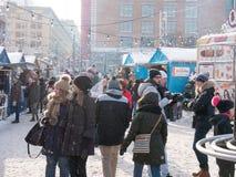 圣诞节市场在蒙特利尔,加拿大 免版税图库摄影
