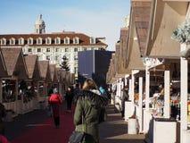 圣诞节市场在都灵 图库摄影