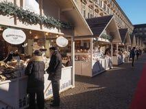 圣诞节市场在都灵 库存图片