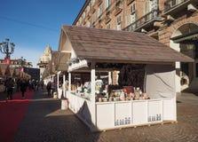 圣诞节市场在都灵 免版税库存照片