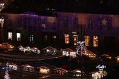 圣诞节市场在锡比乌,罗马尼亚,看法从上面 免版税库存图片