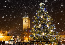 圣诞节市场在Oldtown广场,布拉格 库存图片