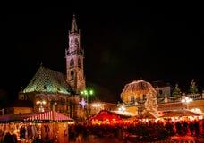 圣诞节市场在Vipiteno,波尔查诺,特伦托自治省女低音阿迪杰,意大利 免版税库存图片