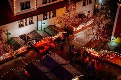 圣诞节市场在Vipiteno,波尔查诺,特伦托自治省女低音阿迪杰,意大利 免版税图库摄影