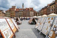 圣诞节市场美人鱼正方形符号结构树华沙 免版税库存照片