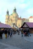 圣诞节市场老布拉格方形城镇 库存照片