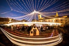 圣诞节市场锡比乌罗马尼亚, 2015年12月 库存照片