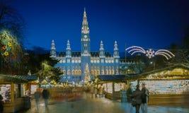 圣诞节市场,维也纳,奥地利 免版税图库摄影