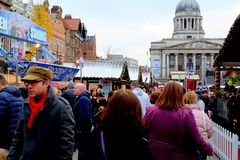 圣诞节市场,诺丁汉,英国 免版税库存图片