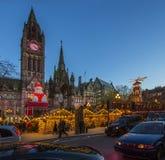 圣诞节市场-曼彻斯特-英国 库存照片