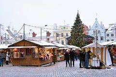 圣诞节市场inTallinn 图库摄影