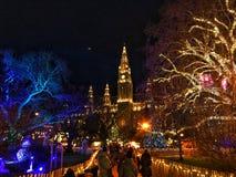 圣诞节市场Rathaus,维也纳,奥地利 库存图片