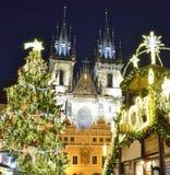 圣诞节布拉格时间 库存照片