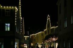 圣诞节带领了霓虹灯星和xmas树在历史cit 免版税库存图片