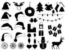 圣诞节帽子和装饰 免版税库存图片