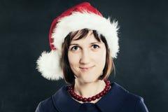 圣诞节帽子圣诞老人妇女 免版税库存照片