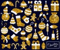 圣诞节平的元素集 免版税库存照片