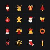 圣诞节平的金黄象 库存照片