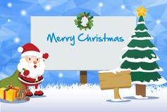 圣诞节广告牌和愉快的圣诞老人题材 免版税库存照片